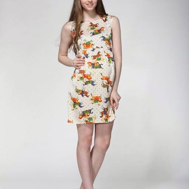 2014 Short Sleeves Round Neck Art Checked Print Dresses