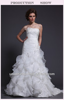 Latest Fashion Dresses High-quality China Factory Made Satin Pleated Organza Ruffles Wedding Dress 2015