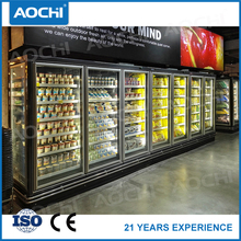 Eco-Friendly commercial big store upright glass door multideck showcase freezer for Cookies display