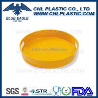 Solid color melamine round tray with handle