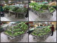APEX supermarket shelf with water leak holes stainless steel fruit vegetable display rack/vegetable and fruit display shelves