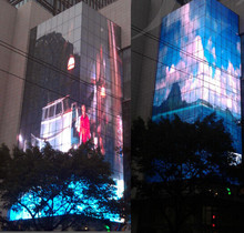 big outdoor advertising screen P31.25/ P15.625mm transparent led media facade advertising led display