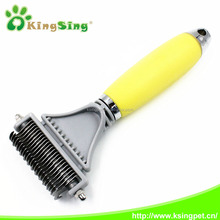 Double sided dog dematting rake comb with Silicone handles, pet grooming brush & pet grooming tool