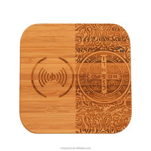 New Design Embrossed Wood QI Mobile Phone Wireless Charger for iPhone Samsung Universal