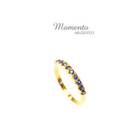 Momento 925 Sterling Silver Ring Set With Blue Sapphire And Gold Plating