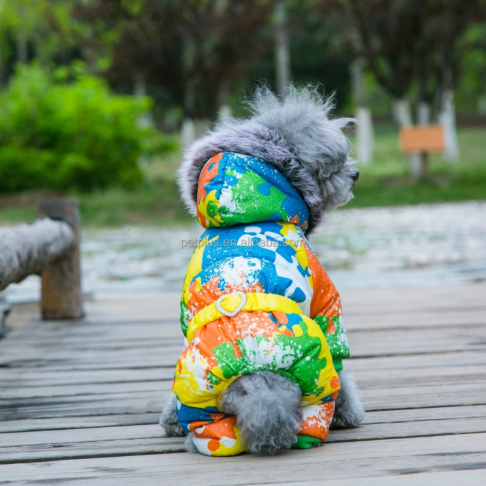 Hallowenn Graffiti Camouflage windproof quilted pet dog hodd winter jumpsuit