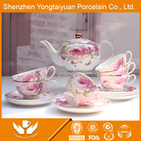 The latest style pink flower decal porcelain tea pot & cup&saucer