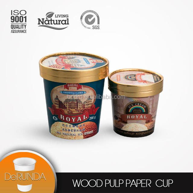 Biodegradable 480ml double pe coated single wall ice cream paper bowls