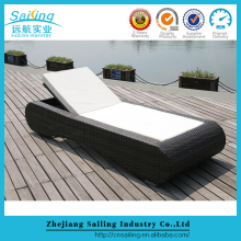 Outdoor Sun Lounger Patio Beach Retractable Portable Rattan Folding Bed