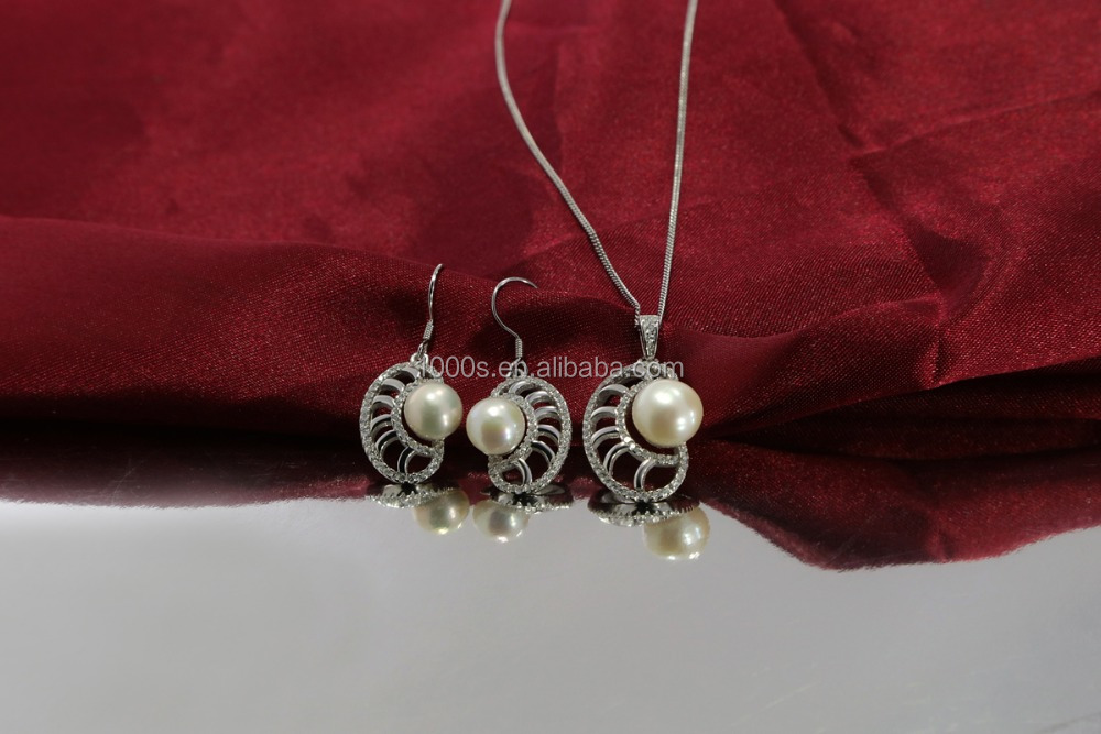 unique freshwater pearl jewellery set, 925 solid silver with pearl pendant, earring wholesale