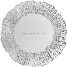 High quality customized size ice crackle decoration charger plate wedding event glassware supplier