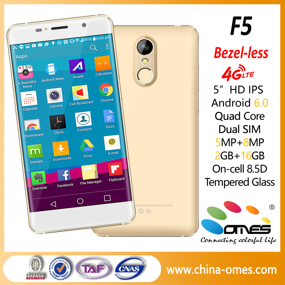 5 inch Bezel-less 4G android 6.0, 5.0MP+13MP, 3+32GB, HD IPS On-cell 8.5D radian gorilla glass 4g mobile phone price list