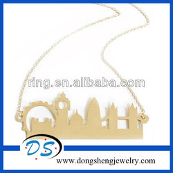 Fashion Gold Tone London City Skyline Pendant Necklace