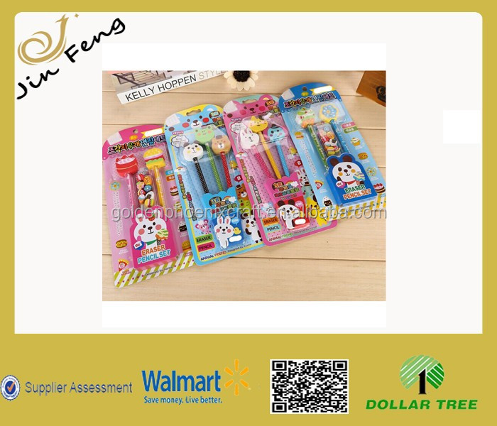 Top Sale Customized Animal Design School Gift Pencils And Erasers Set For Kids