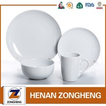 cheap moon shape solid color 16 pcs white stoneware dinner set stock