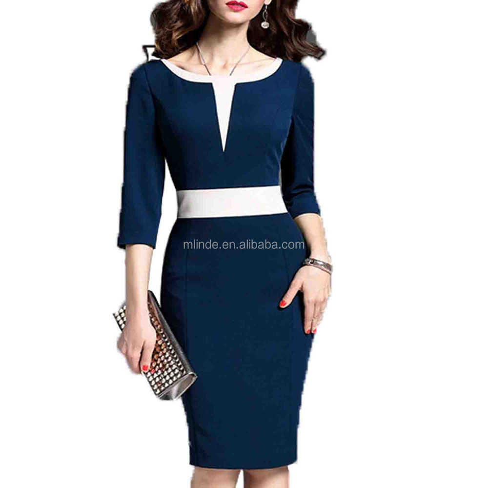 Alibaba Online Shopping Women's 2/3 Sleeve Colorblock Slim Bodycon Business Pencil Dress with Long Sleeve