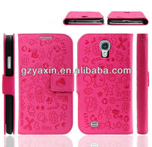 Lovely Pink Cartoon design leather phone case for samsung galaxy s4,cheap full body pu leather cell mobile phone case