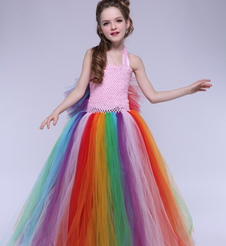 Wedding Birthday Bridesmaids Party Tutu Dresses Rainbow Tulle Dress for Girls