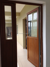 Cheap price high quality wooden color casement upvc doors