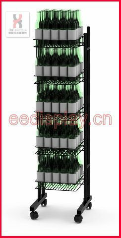 Practical Free Flooring Wine Bottle Display Rack/Retailed Standing Wine Bottles Display Shelf/Metallic Liquor Display Stand