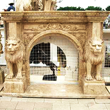 Best quality cheap travertine fireplace mantel carving mantle surround with low price