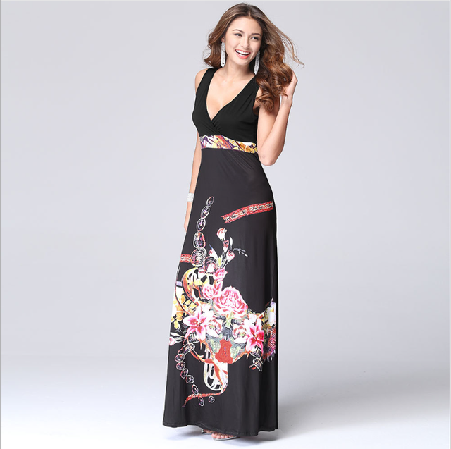 online shopping european and american flower casual dresses fashion ladies clothes 2016 summer W60482V