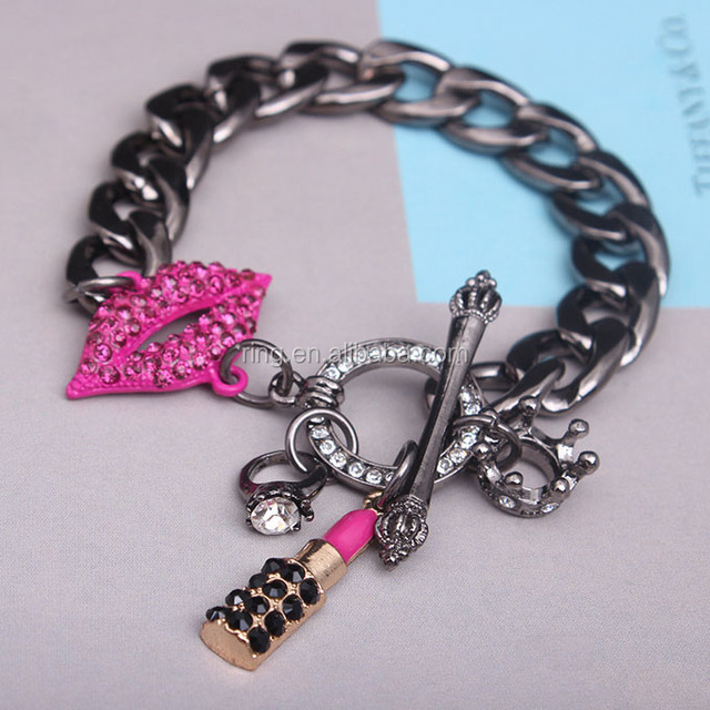 Hot Selling Brand New Thick Chain Black Cosmetic Lipstick Lip Charm Bracelet