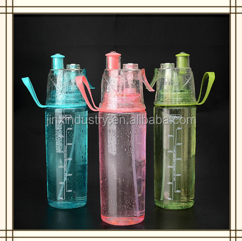 500ml 700ml Creative Button Water Bottle PC Plastic Travel Sport Misting Spray Water Bottle