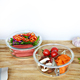Round Stackable Borosilicate Serving Cooking Glass Bowl 2 section with Lid