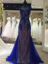 real sample long lace royal blue sexy back open evening dress