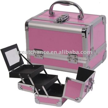 Makeup Cosmetic Train Case Aluminum Box Black