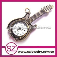 2016 new vogue teenagers no cover cool classical vintage pocket watch,Guitar vintage necklace watch