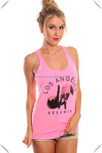 neon pink racerback tank top for women, Women's T-Back Tank Top custom made,OEM tank tops with screen printing logo
