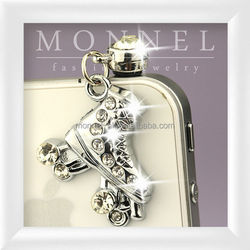 ip455-1 Monnel Alloy Clear Crystal Silver Rhinestone Roller Skate Phone 3.5mm Anti Dust Plug Cover Stopper Charm