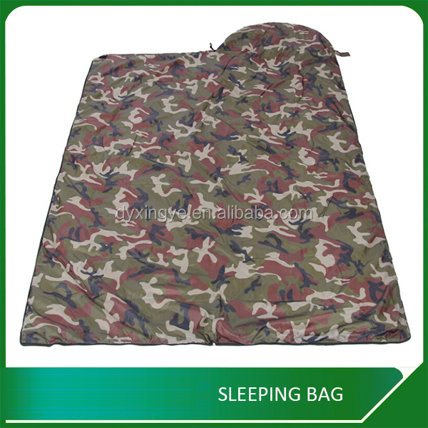 Waterproof Army Camouflage Single Sleeping Bag With Hollow Fiber Filling
