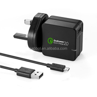 UK plug 18W port usb wall charger qualcomm certified Black