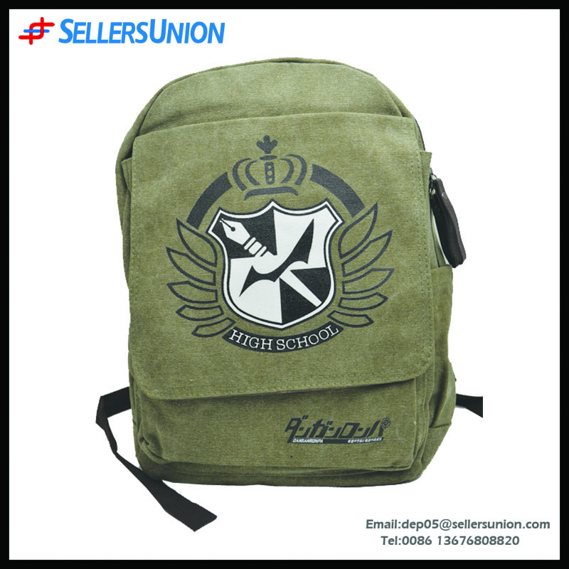 Latest arrival leisure travel canvas backpack, fashion military teenage school bag travel bag