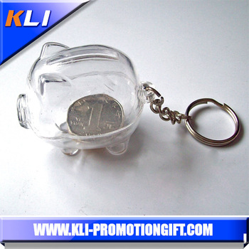 Mini transparant money box plastic animal keychain piggy bank