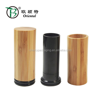 thin empty lipstick case with bamboo cover