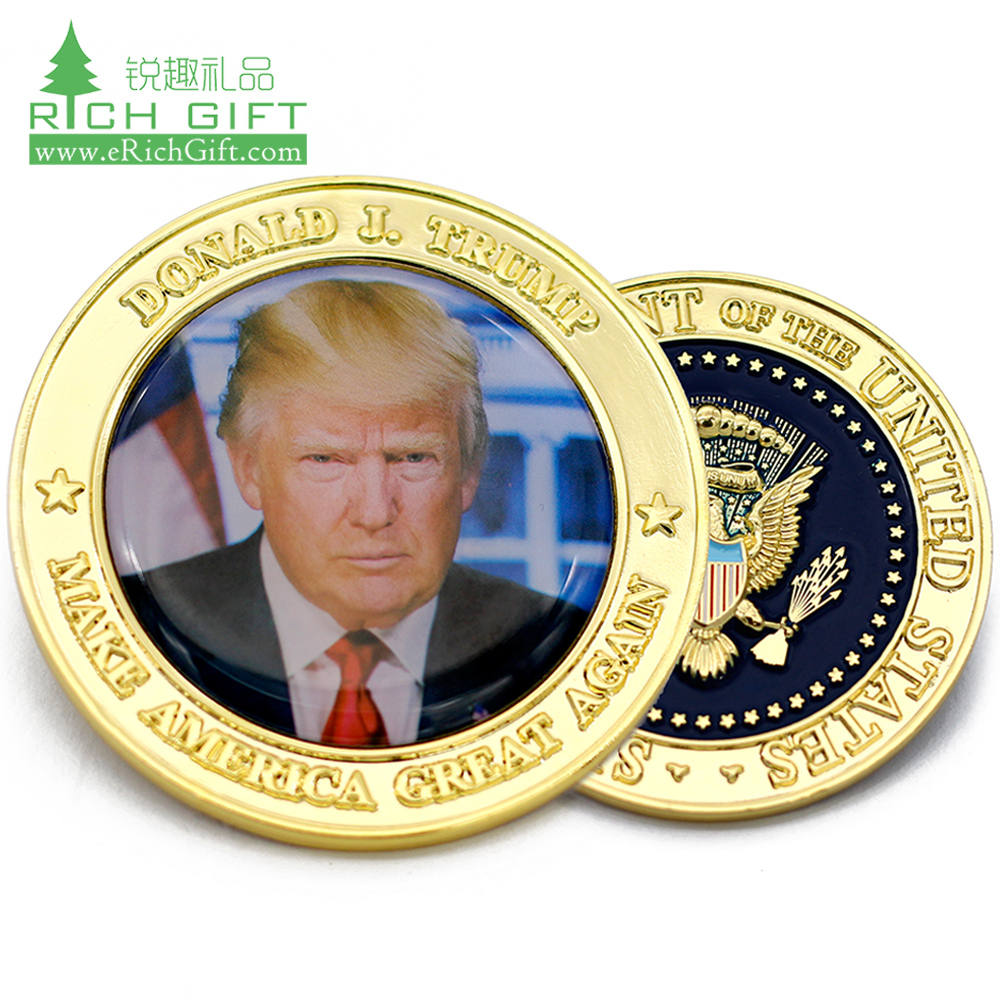 Hot selling free design zinc alloy gold plated american eagle trump challenge coins with raised border