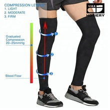 Leg Compression Sleeve Thigh High Stockings, Firm Support 20-30 mmHg Gradient Compression with Silicone Band