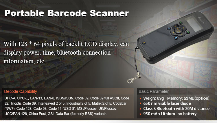 1D Laser Portable handheld barcode scanner MS3398 android with display for portable data show