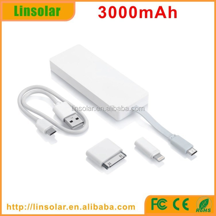 Hot flat 3000mAh built-in micro USB charging cable mobile phone portable handphone charger