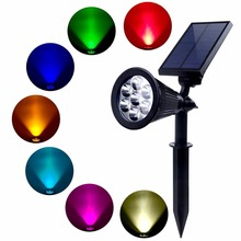 7 led spot light with SMD 5050 RGB LED 3w power solar power spotlight Landscape Light for garden