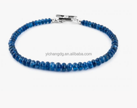 Blue Burmese Sapphire Precious Stone Bracelet with Stainless Steel Clasp