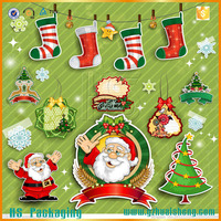 Newest waterproof Santa Claus christmas wall or window sticker / christmas sticker for wholesale