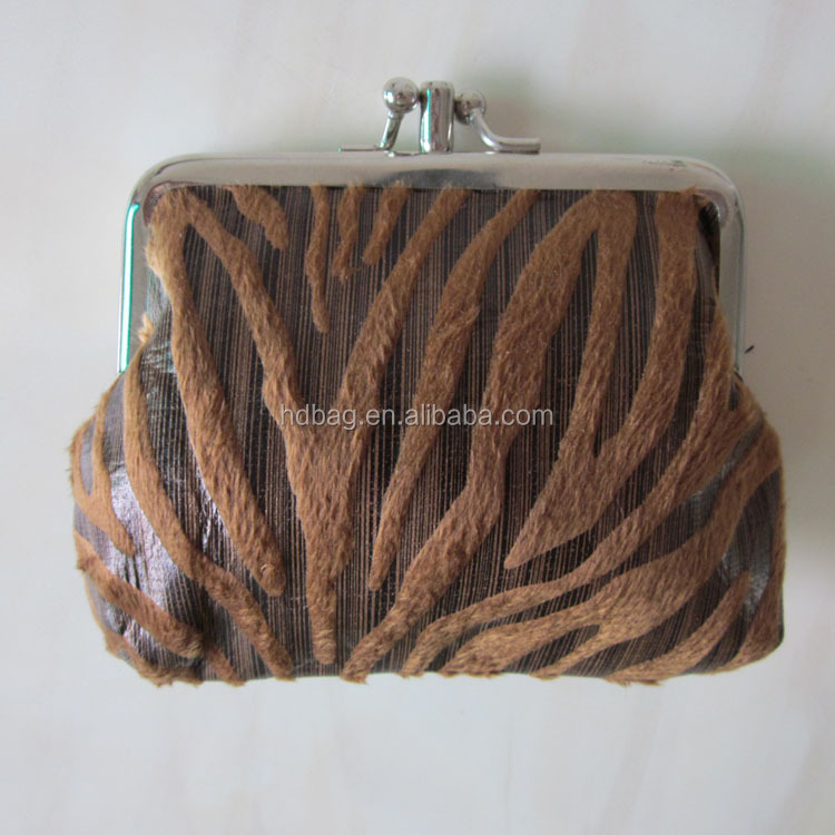 hot sell custom fashion ladies striped printing squeeze euro coun purse