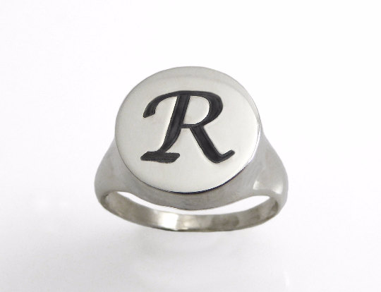 Cheap Stainless Steel Silver Customized Engraved Alphabet Letter R Finger College Boys Finger Ring Fashion