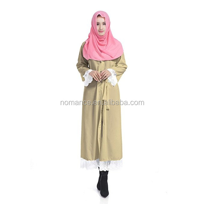 Women Muslim Robe Four Rounds Of Lace Splicing Dress With Belt