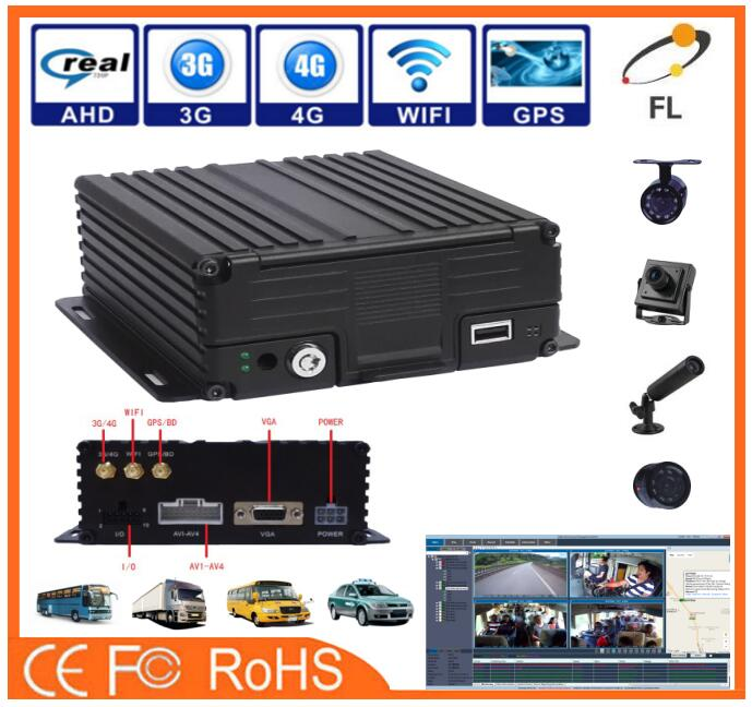 AHD 960P 4CH HDD and SD card mobile DVR/MDVR recorder video for car integrate with temperature sensor